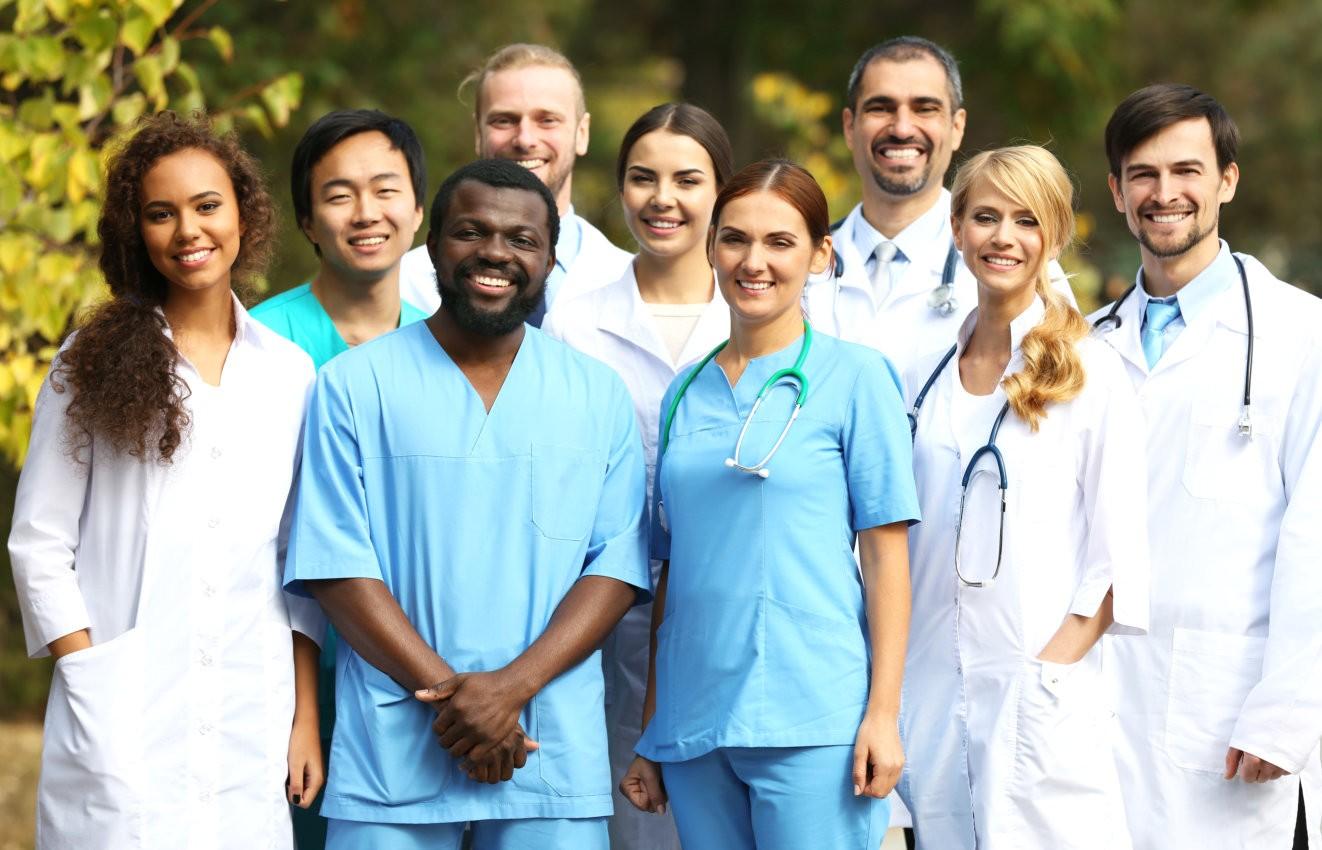Smiling medics team, outdoors