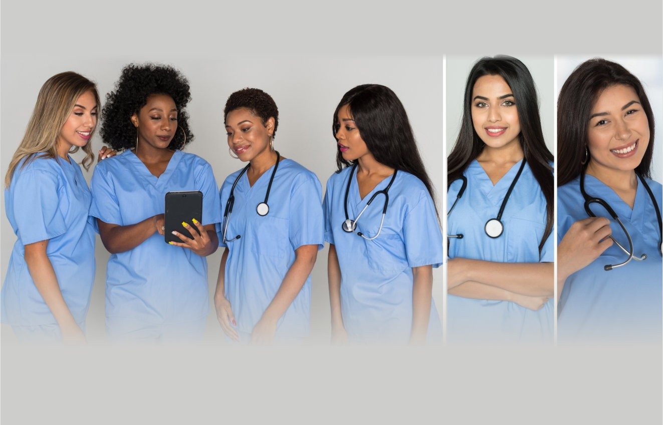 A group of diverse female nursing working at the hospital