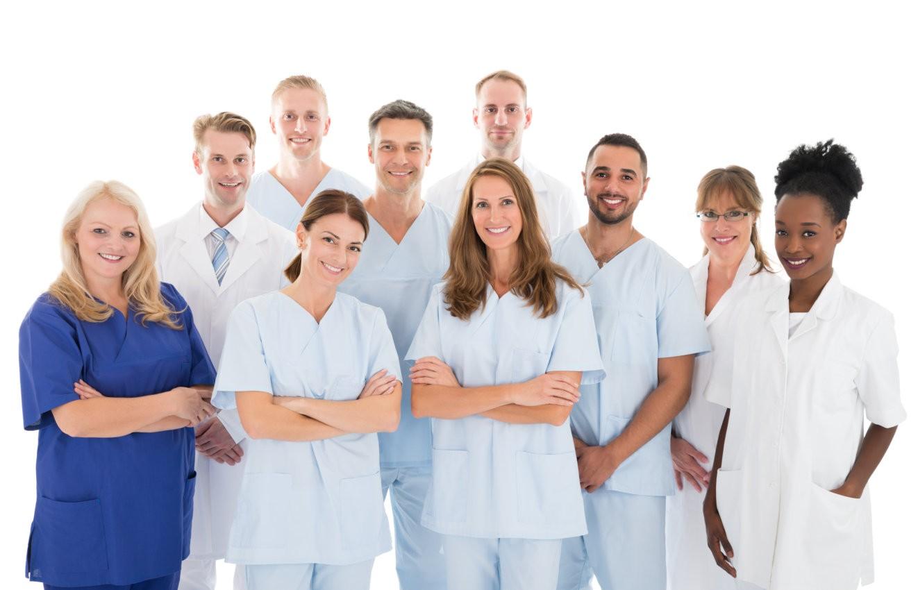 multiethnic medical team standing